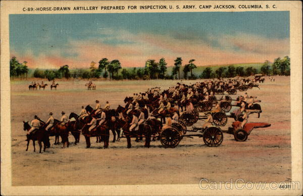 Horse-drawn Artillery Prepared for Inspection. U. S. Army. Camp Jackson Columbia South Carolina
