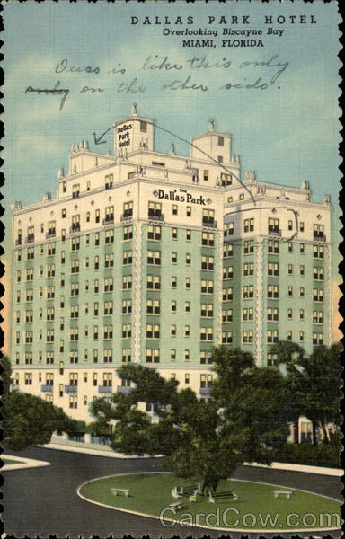 Dallas Park Hotel overlooking Biscayne Bay Miami Florida