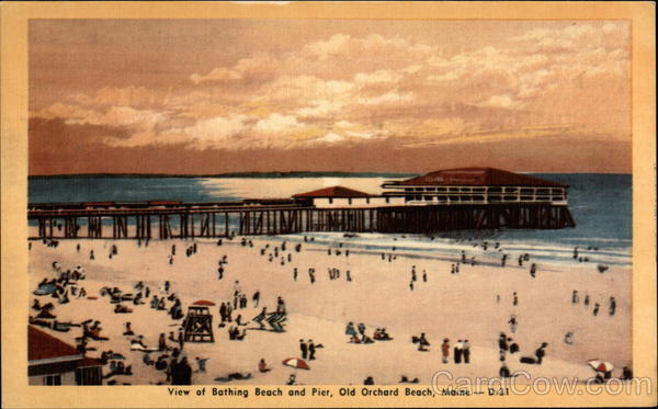 View of Bathing Beach and Pier Old Orchard Beach Maine
