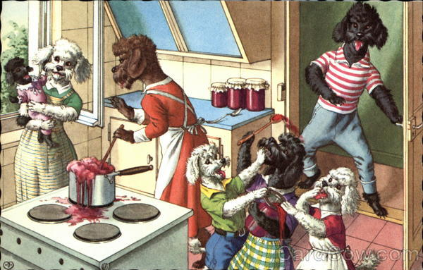 Dogs cooking Alfred Mainzer (Eugen Hurtong)