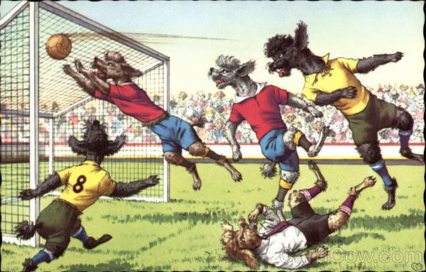 Dogs Playing Soccer Alfred Mainzer (Eugen Hurtong)