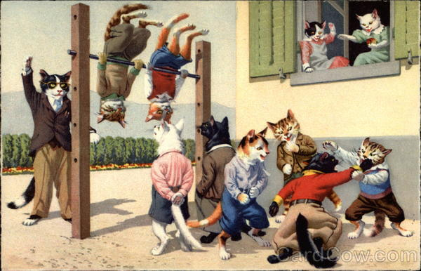 Cats playing in the Schoolyard Alfred Mainzer (Eugen Hurtong)
