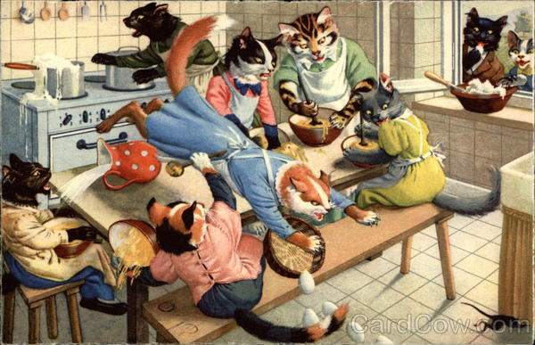 Cats in the kitchen Alfred Mainzer (Eugen Hurtong)