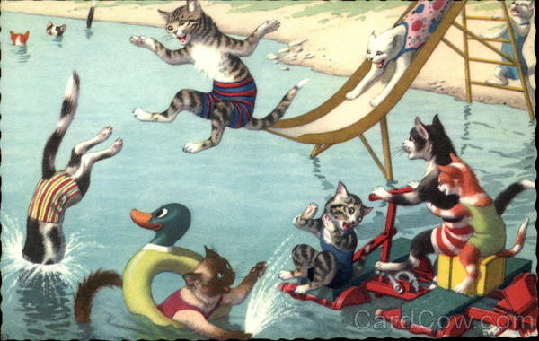 Cats Swimming at the Beach Alfred Mainzer (Eugen Hurtong)