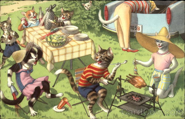 Cats at a Picnic Alfred Mainzer (Eugen Hurtong)
