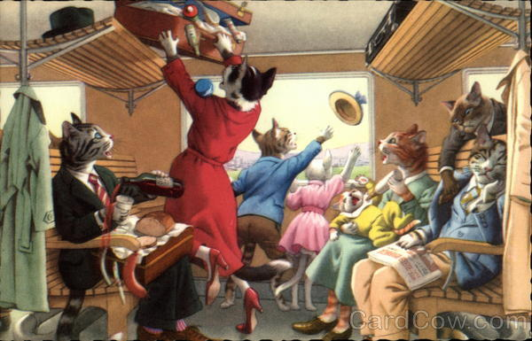 Cats on a Train Alfred Mainzer (Eugen Hurtong)