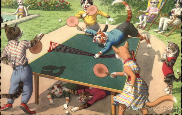 Cats Playing Ping Pong Alfred Mainzer (Eugen Hurtong)