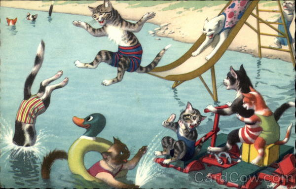 Cats Swimming Alfred Mainzer (Eugen Hurtong)