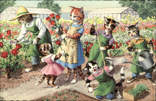 Cats in the Flower Garden Alfred Mainzer (Eugen Hurtong)