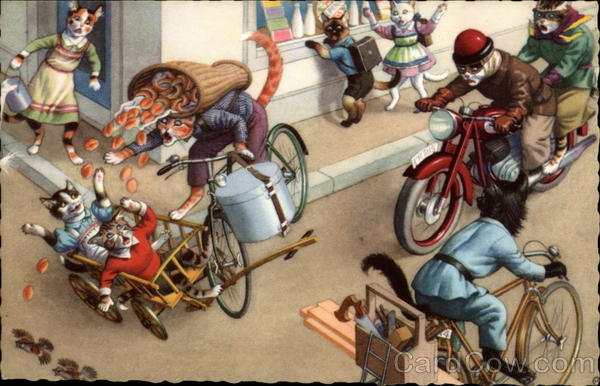 Cats on Bicycles and Motorcycle have Accident Alfred Mainzer (Eugen Hurtong)