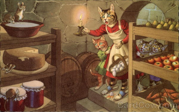 Cats Discover Mice in the Larder Alfred Mainzer (Eugen Hurtong)
