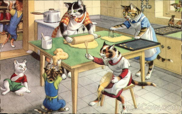 Mainzer Cats Baking at the Kitchen Table Alfred Mainzer (Eugen Hurtong)