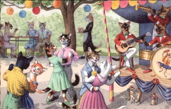 Even the Mice Enjoy the Kitty Cat Dance Cats Alfred Mainzer (Eugen Hurtong)