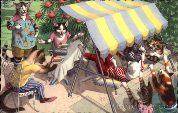 Cats as People on Patio Alfred Mainzer (Eugen Hurtong)