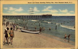 Beach and Ocean showing Fishing Pier