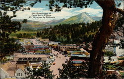 Panorama of Estes Park Village, Mt. Olympus in Distance