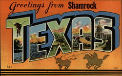 Greetings from Shamrock Texas Postcard