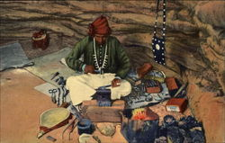 Navajo Indian Silversmith Plying His Trade