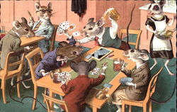 Mice in suits playing cards
