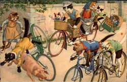 Cats on Bikes Have Accident with Pig