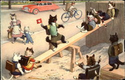 Cats in clothes on seesaw