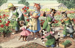 Cats in the Flower Garden