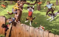 Mainzer Cats Climbling a Fence, Hanging From an Apple Tree