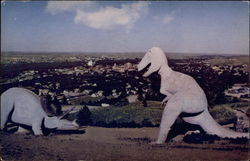 Prehistoric dinosaurs overlooking Rapid City