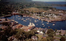 Airview of Busy Camden Harbor Postcard