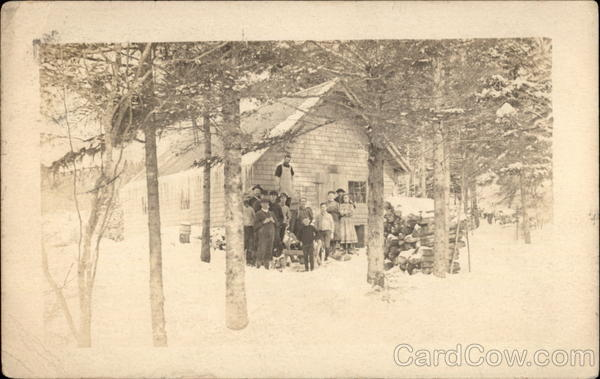 Winter Camp Scene Maine Unidentified People