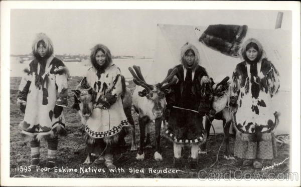 Four Eskimo Natives with Sled Reindeer Native Americana