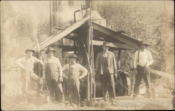 Laborers Posed Beside a Machine Men
