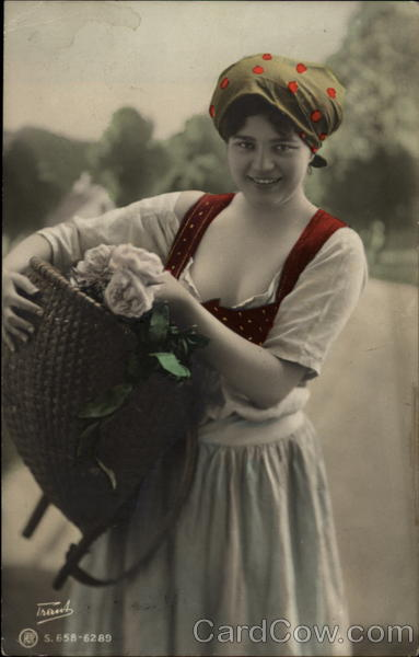 Peasant Girl with Flower Basket on Hip Women