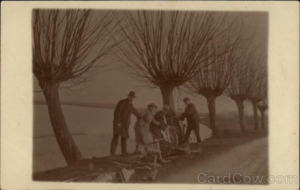 A Group Repairing Their Bicycles