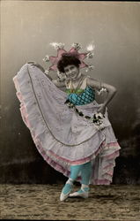A Colorfully-Dressed Female Dancer Postcard
