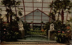 Entrance & Interior of New Conservatory, Garfield Park Postcard