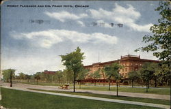 Midway Plaisance and Del Prado Hotel Postcard