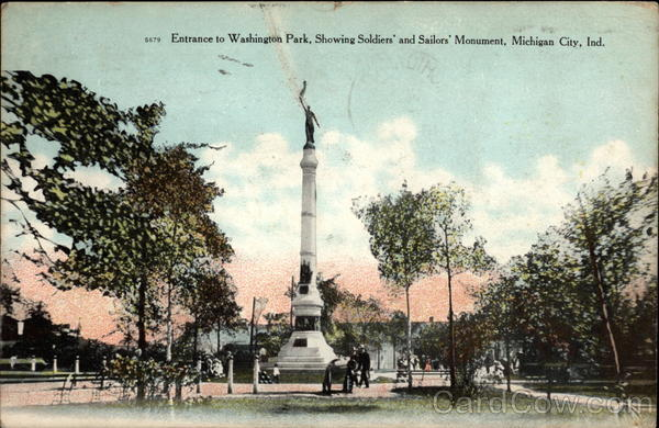 Entrance to Washington Park, Showing Soldiers' and Sailors' Memorial Michigan City Indiana