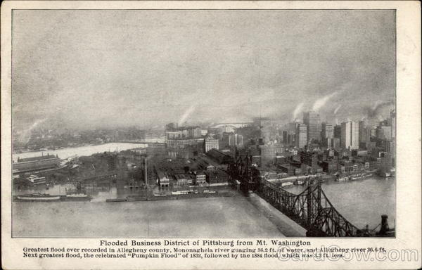 Flooded Business District of Pittsburg from Mt. Washington Pittsburgh Pennsylvania