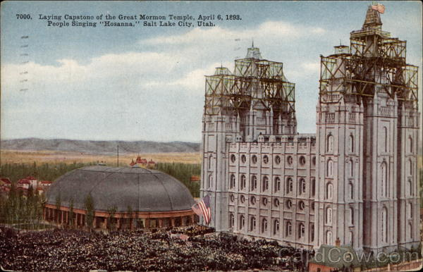 Laying Capstone Of The Great Mormon Temple April 6 1893