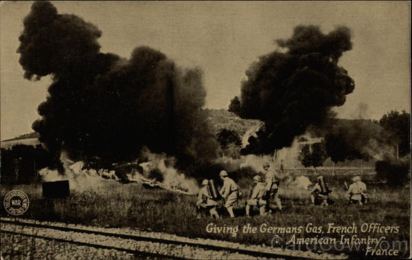Giving the Germans Gas, French Officers Amercian Infantry, France