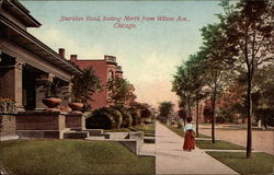 Sheridan Road, looking North from Wilson Ave Postcard