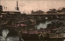 Native Boats at the Bridge of Yokehama Postcard