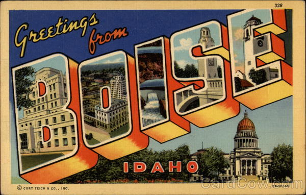 Greetings from Boise Idaho Large Letter
