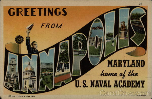 Home of the U.S. Naval Academy Annapolis Maryland Large Letter
