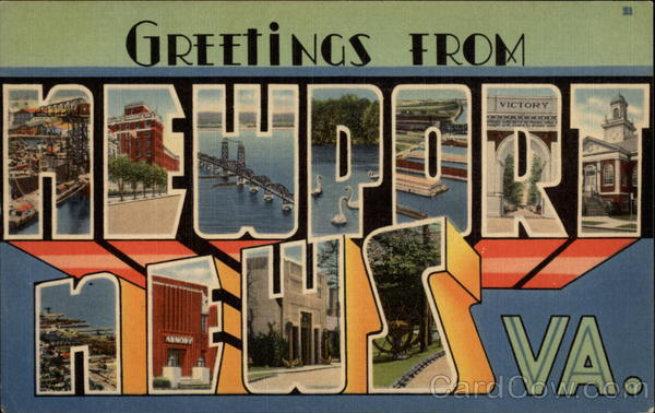 Greetings from Newport News, VA Virginia Large Letter