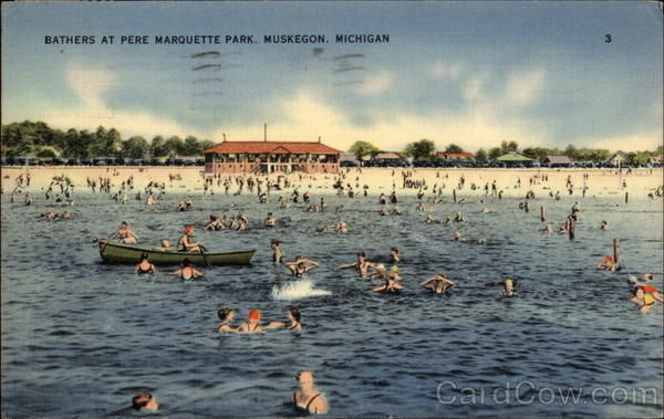 Bathers at Pere Marquette Park Muskegon Michigan