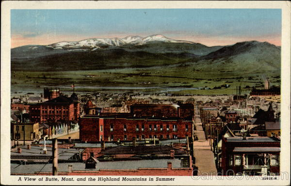 A View of Butte, Mont. and the Highland Mountains in the Summer Montana