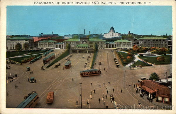 Panorama of Union Station and Capiol Providence Rhode Island