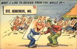 Cartoon of postcards with legs coming out of Post Office